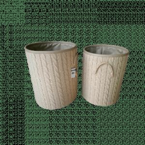 2 stk rund vedkurv m/strikket utside