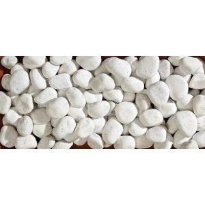 Dekorstein, pyntestein, hvit, tromlet, str. 30/60, sekk med 20 kg