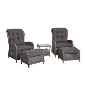 Delta Reclinersett, bord og stol sett, Grå