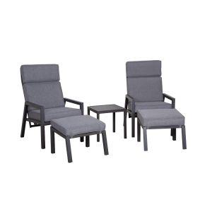 Lerida reclinersett, grå, 2x stol, 2x ottoman og 1x bord