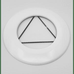 Pyntering m/fjær. Hvit Emalje, Ø150mm.
