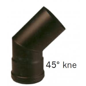 Helmin - Ø125 x 45° uten luke - Todelt, Sort - KORT