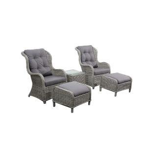 Tynset ørelapp stolsett, grå, med grå puter, inkl. bord
